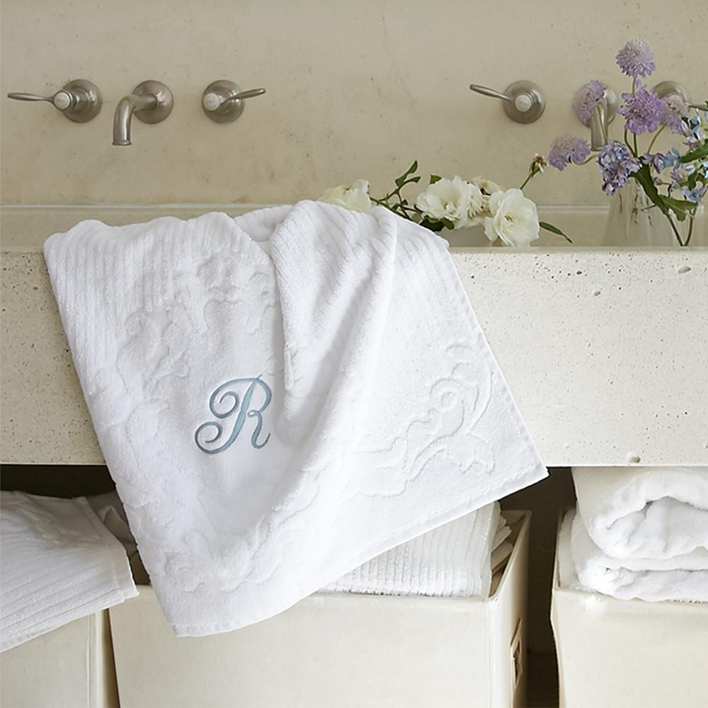 White Scroll Towel Collection